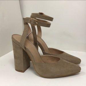 Taupe block heel sandals
